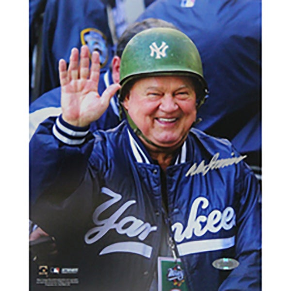 Don Zimmer Signed Wearing Green Yankees Hard Hat Vertical 8x10 Photo