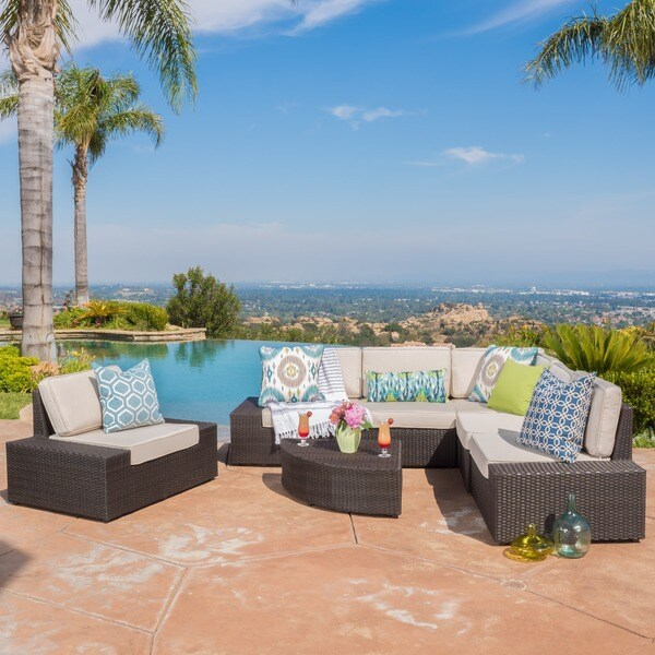 San Vicente Outdoor 7-piece Aluminum Sofa Set with Sunbrella Cushions by Christopher Knight Home -  296734