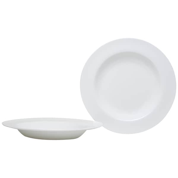 Pure Vanilla Rimmed 28-ounce Pasta Bowls (Set of 2)