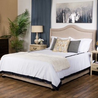 Christopher Knight Home Virgil Upholstered Studded Fabric Queen Bed Set