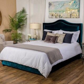 Christopher Knight Home Virgil Upholstered Studded Velvet Fabric Queen Bed Set