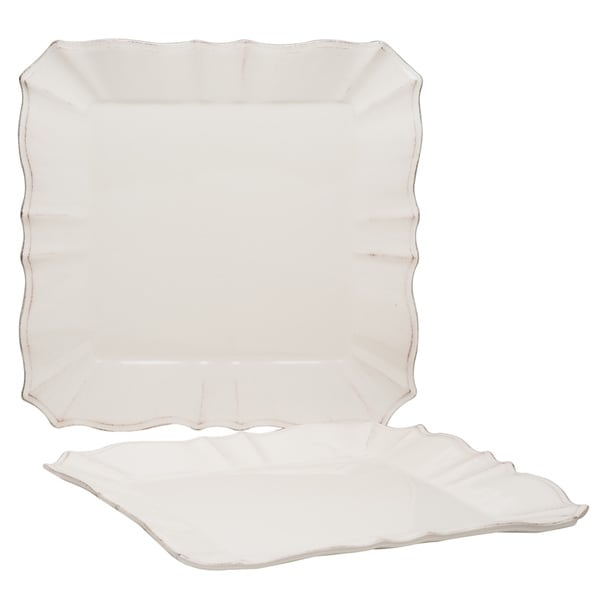 Countryside Cream 12.25-inch Square Platters (Set of 2)