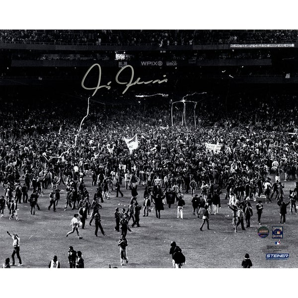Chris Chambliss Signed 1976 HR Fans Storm Field 8x10 Photo