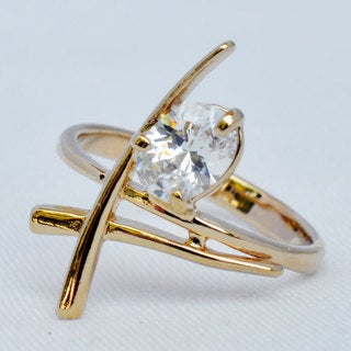 Goldplated 'Shri' Ring with Cubic Zirconia