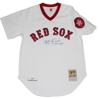 "Carl Yastrzemski Signed Boston Red Sox Authentic Mitchell & Ness Jersey w/ ""HOF"" Insc (MLB Auth)"