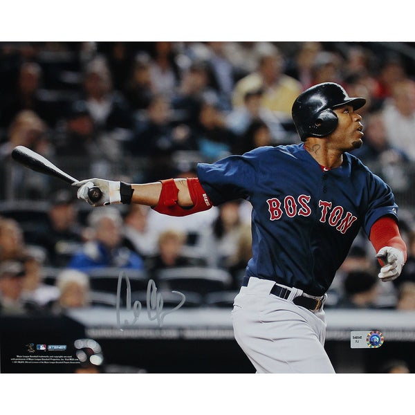 Carl Crawford Boston Red Sox Blue Jersey Hit Horizontal 8x10 Photo (MLB Auth) 17308424