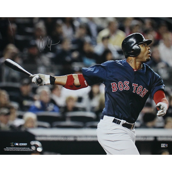 Carl Crawford Boston Red Sox Blue Jersey Hit Horizontal 16x20 Photo (MLB Auth) 17308431