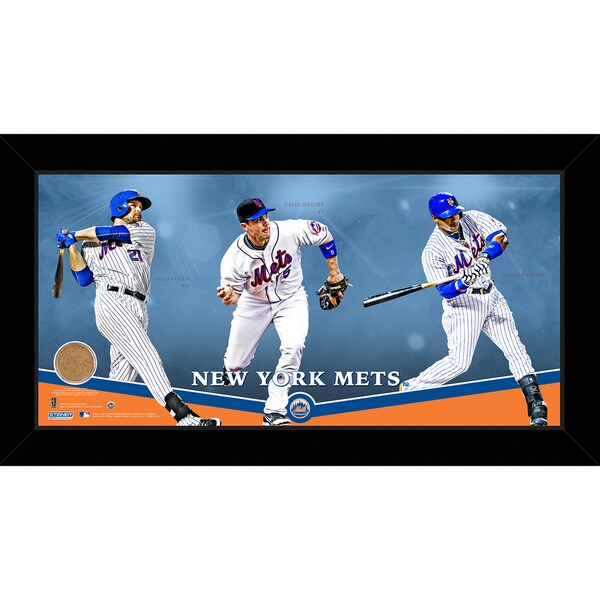 New York Mets Players Composition Graphic 10x20 Framed Collage w/ Game Used Dirt from Citi Field