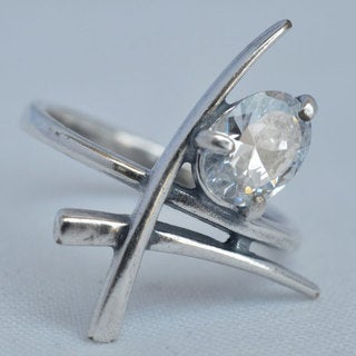 Silverplated 'Shri' Ring with Cubic Zirconia