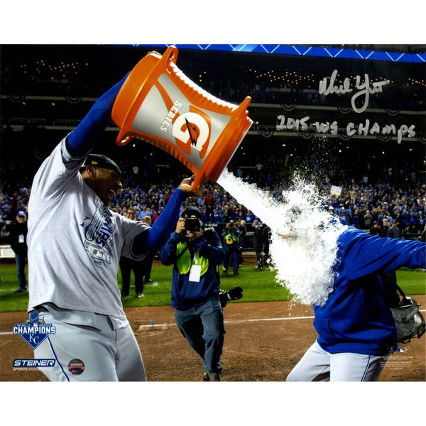 "Ned Yost Signed 2015 World Series Gatorade Bath 8x10 Photo w/ ""2015 WS Champs"" Insc"