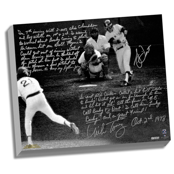 Bucky Dent & Mike Torrez Facsimile 1978 Walk-Off Home Run Story Stretched 16x20 Story Canvas