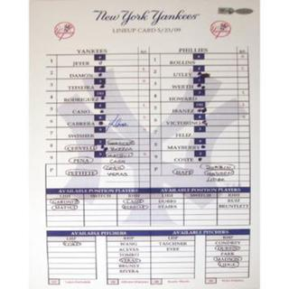 Melky Cabrera Yankees 5-23-2009 Replica Line up Card