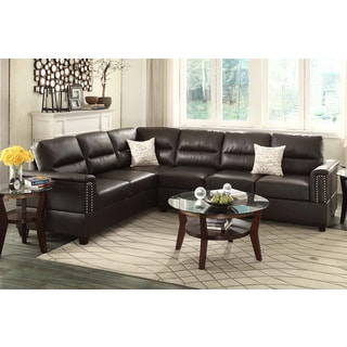 Altamura 2-Pieces Sectional Sofa Upholstered in Espresso Bonded Leather