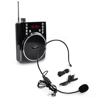 Pyle PWMA40BT Portable Bluetooth Radio and PA Speaker System with Compact Headset Microphone Amplifier