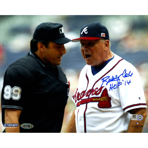 Bobby Cox Signed Arguing With Umpire 8x10 Photo w/ HOF insc (MLB Auth) 17309041