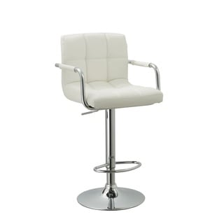 White Leatherette Swivel-adjustable Retro Bar Stool