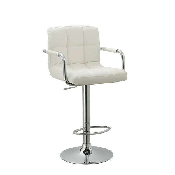 White Leather Adjustable Retro Bar Stool