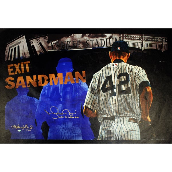 Mariano Rivera Signed Stephen Holland Exit Sandman Giclee 25x44 Canvas w/ Last To Wear #42 Insc. (LE NYY of 42)