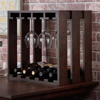 Furniture of America Elma Rustic Vintage Walnut Wine Rack