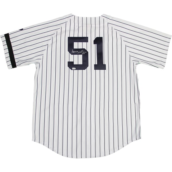 Bernie Williams Signed New York Yankees Authentic Jersey w/ Black Armband and #7 Patch on Sleeve (MLB Auth)
