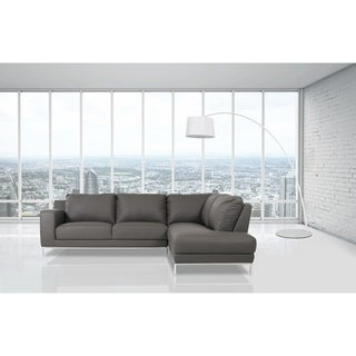 Divani Casa Primrose Modern Grey Faux Leather Sectional Sofa with Chaise