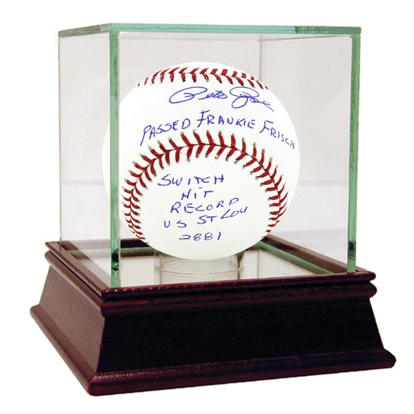 "Pete Rose Signed MLB Baseball w/ ""Passed Frankie Frisch, Switch Hit Record vs. St Lou, 2881"" insc"
