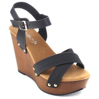 Beston AB39 Women's Criss Cross Platform Wedges