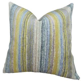 Plutus Soft Stripe Cornflower Handmade Double Sided Throw Pillow
