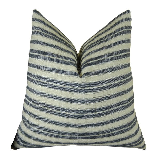 Plutus Stone Manor Indigo Handmade Double-sided Throw Pillow