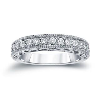 Auriya 14k White 2/5ct TDW Round Diamond Milgrain Ring (H-I, SI2-SI3)