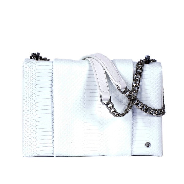 Halston White Leather Chain Shoulder Bag