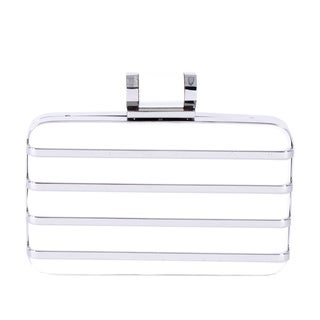 Halston Metal Cage White Leather Minaudiere Clutch