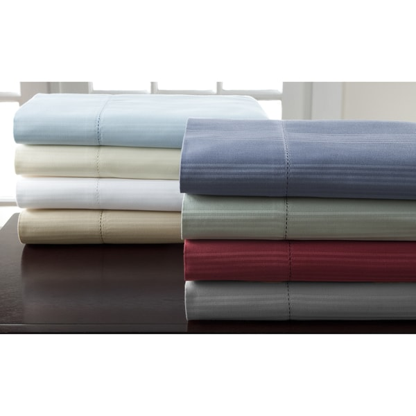 Hemstitch 400 Thread Count Sateen Striped Cotton Sheet Set