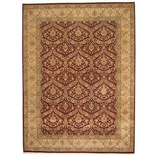Herat Oriental Pakistani Hand-knotted Kashan Burgundy/ Beige Wool/ Silk Rug (9' x 12'1)