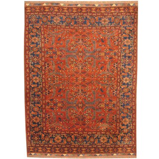 Herat Oriental Afghan Hand-knotted Khal Mohammadi Rust/ Navy Wool Rug (8'8 x 11'8)