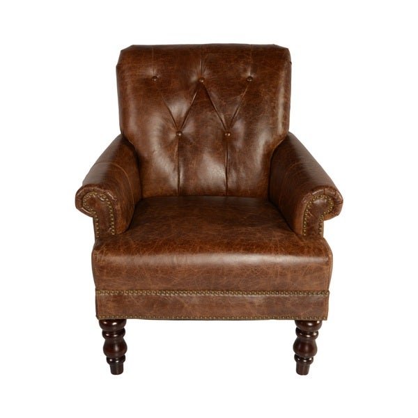 Lazzaro Leather Holland Tufted Back Coco Brompton Arm Chair