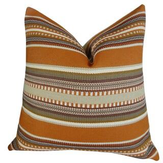 Plutus Chic Stripe Saffron Handmade Double Sided Throw Pillow