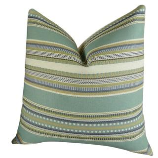 Plutus Chic Stripe Aloe Handmade Double Sided Throw Pillow