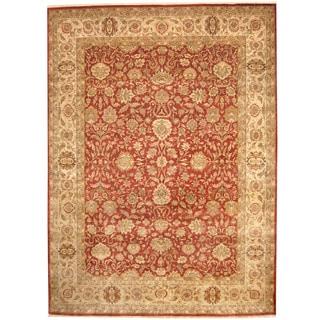 Herat Oriental Indo Hand-knotted Kashan Red/ Beige Wool Rug (9' x 12')
