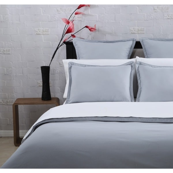 Silver Grey Greek Key Embossed Microfiber Duvet Cover Set