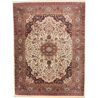 Herat Oriental Indo Hand-knotted Sarouk Ivory/ Gray Wool Rug (9' x 12')