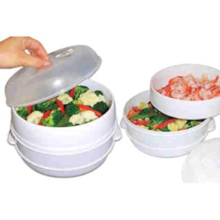 Healthy Cooking Quick Fast Vegetables 2-tier Microwaveble Steamer