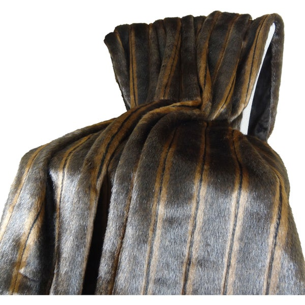 Plutus Fancy Brown Mink Fur Handmade Blanket
