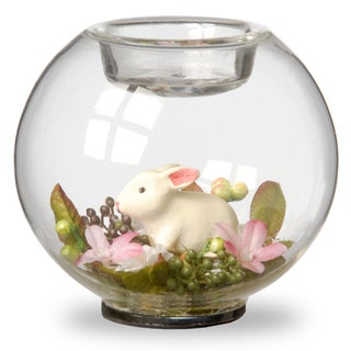 4-inch Round Glass Candle Holders with Bunny and Pink Flowers (Set of 4)