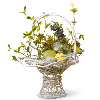 13.5-inch Blue Floral Easter Basket with Eggs and Hydrangeas