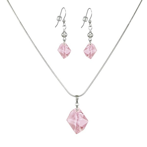 Jewelry by Dawn Pink Cosmic Swarovski Crystal Sterling Silver Necklace And Earring Set