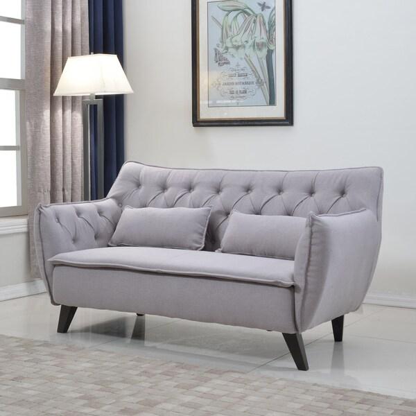 mid century modern tufted linen fabric loveseat living