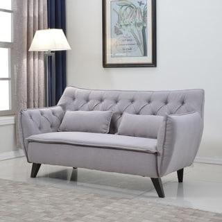 Mid Century Modern Tufted Linen Fabric Loveseat Living Room Furniture