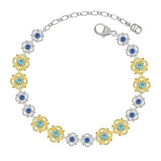 Lucia Costin Sterling Silver Light Blue/ Blue Crystal Bracelet