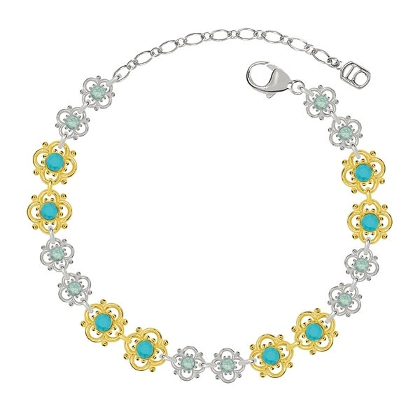 Lucia Costin Sterling Silver Turquoise/ Mint Blue Crystal Bracelet